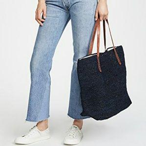 Mar Y sol hand made drawstring tote bag Blue navy